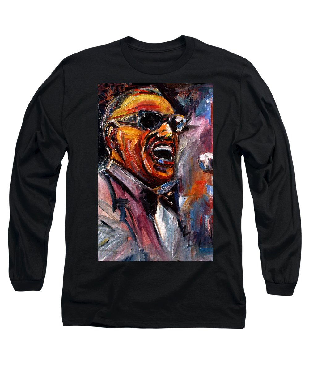 Jazz Art Long Sleeve T-Shirt featuring the painting Brother Ray by Debra Hurd