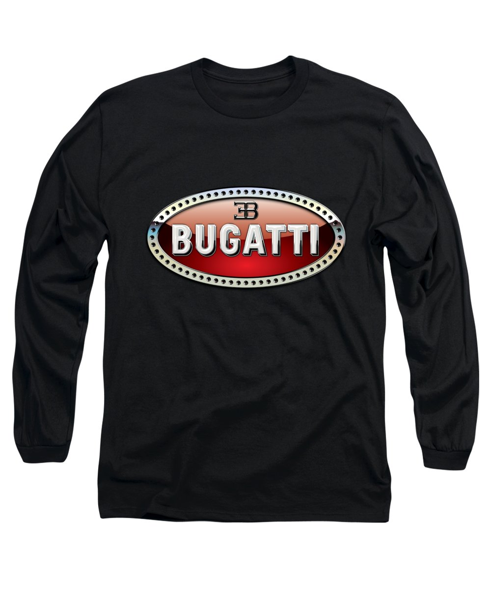 �wheels Of Fortune� Collection By Serge Averbukh Long Sleeve T-Shirt featuring the photograph Bugatti - 3 D Badge On Black by Serge Averbukh