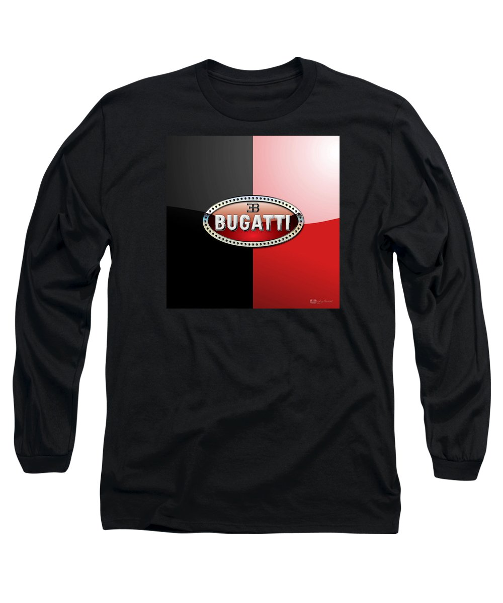 Wheels Of Fortune By Serge Averbukh Long Sleeve T-Shirt featuring the photograph Bugatti 3 D Badge on Red and Black by Serge Averbukh