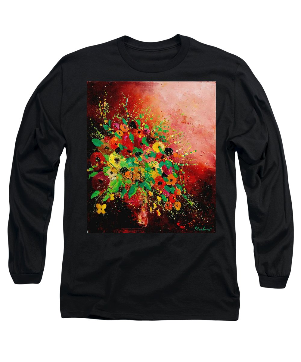 Flowers Long Sleeve T-Shirt featuring the painting Bunch Of Flowers 0507 by Pol Ledent