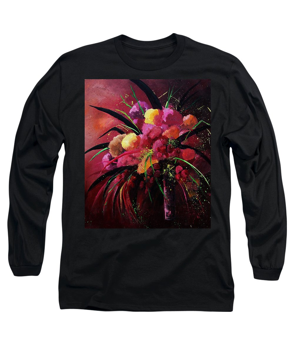 Flowers Long Sleeve T-Shirt featuring the painting Bunch Of Red Flowers by Pol Ledent