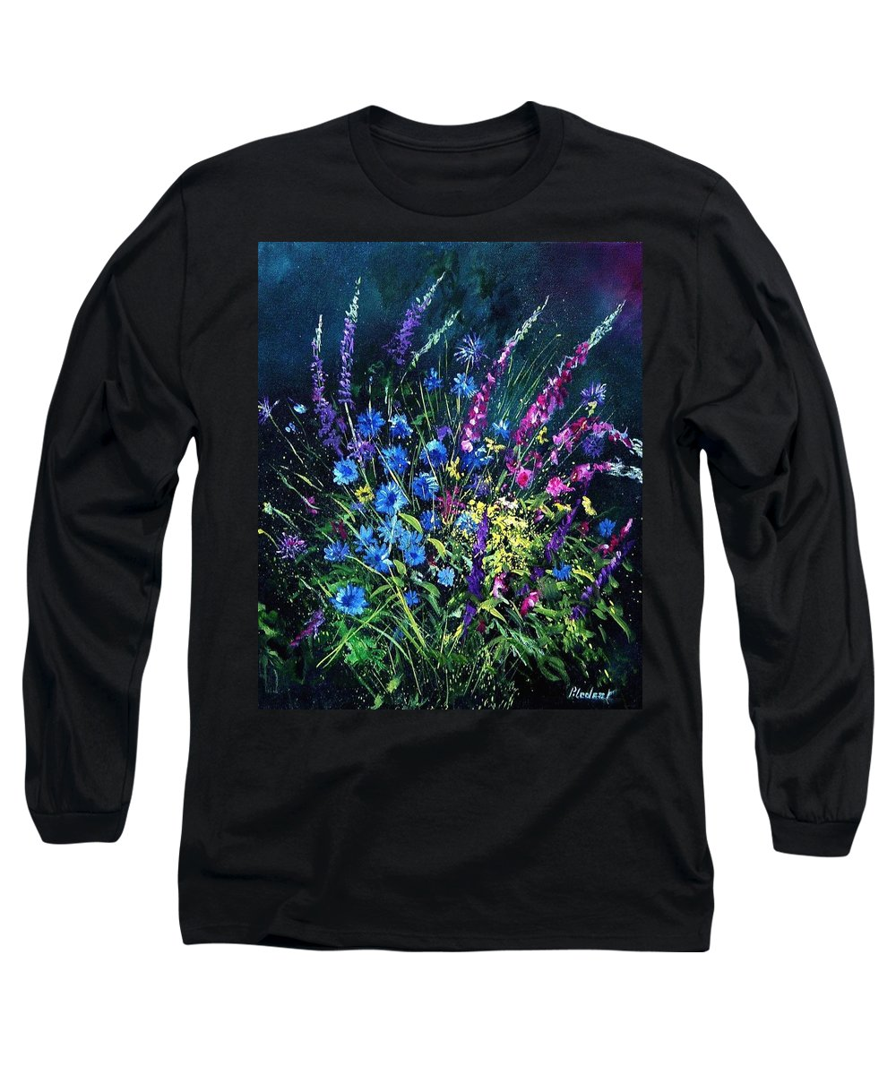 Poppies Long Sleeve T-Shirt featuring the painting Bunch Of Wild Flowers by Pol Ledent