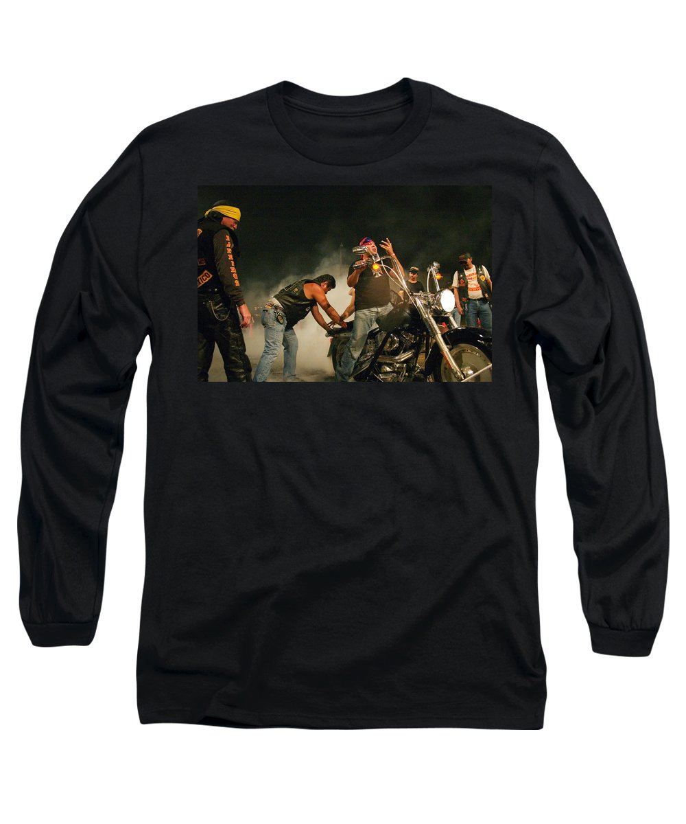 Biker Long Sleeve T-Shirt featuring the photograph Burn Out by Skip Hunt