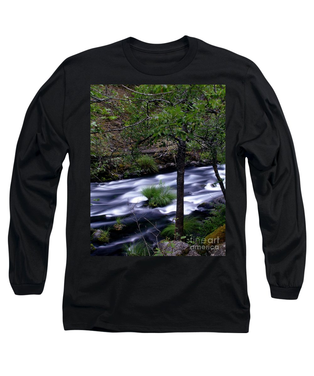 River Long Sleeve T-Shirt featuring the photograph Burney Creek by Peter Piatt