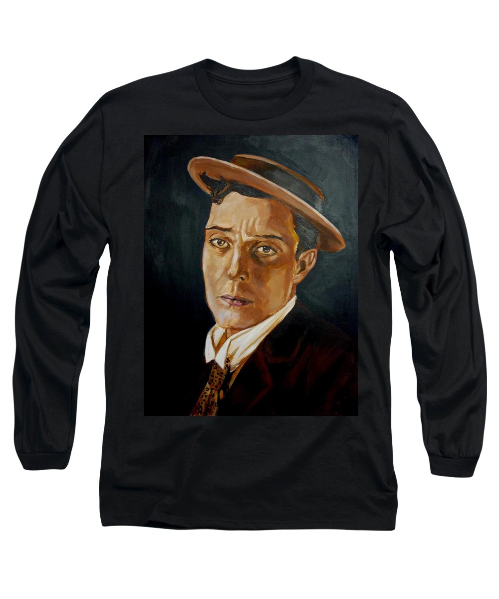 Comedy Long Sleeve T-Shirt featuring the painting Buster Keaton Tribute by Bryan Bustard