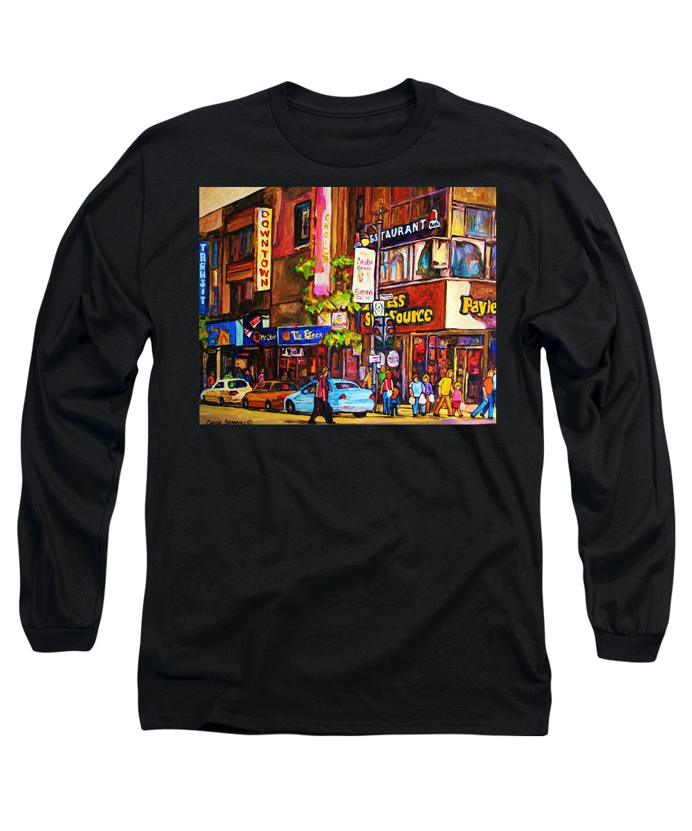 Cityscape Long Sleeve T-Shirt featuring the painting Busy Downtown Street by Carole Spandau