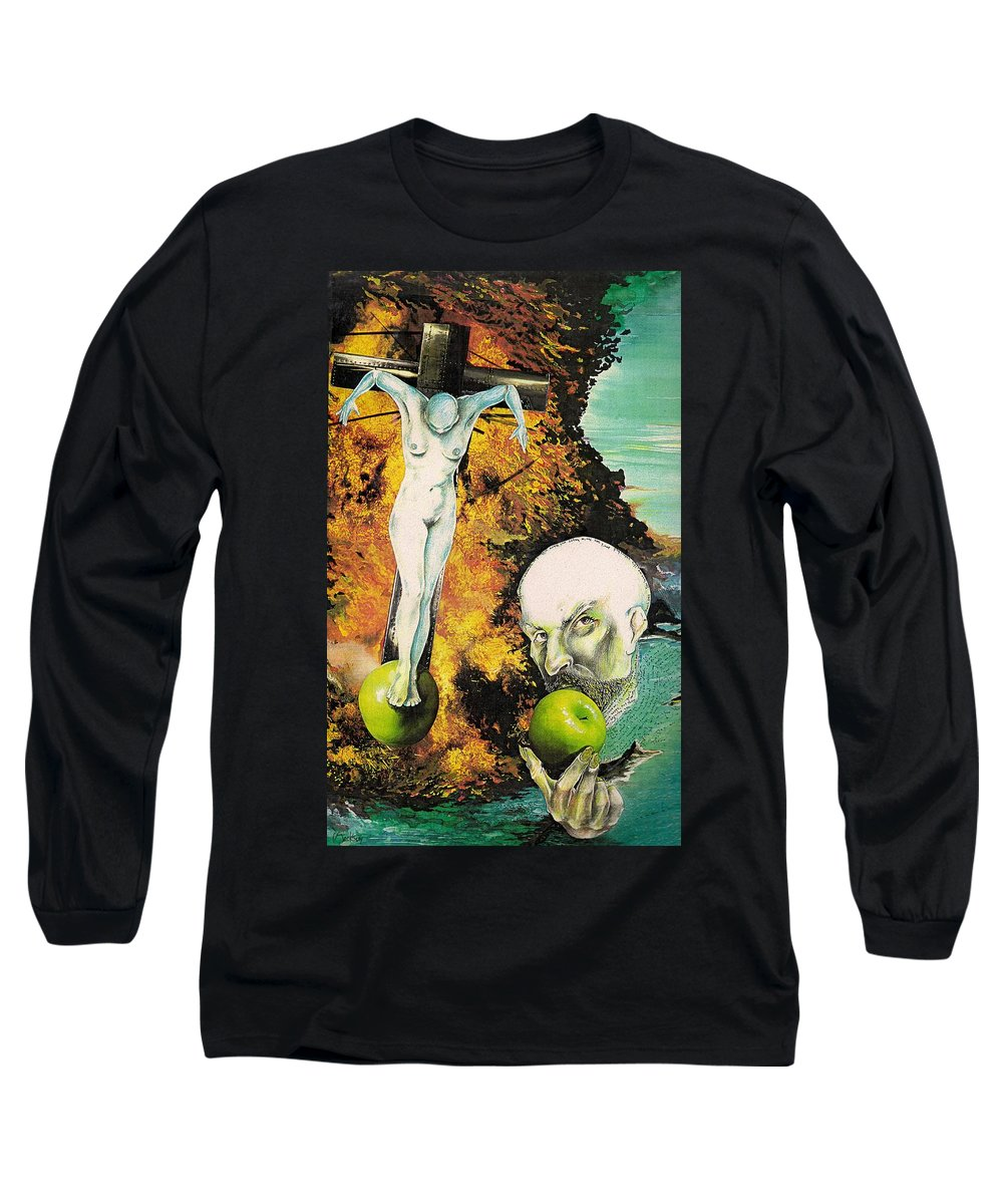 Lust Temptation Crucifix Hell Inferno Heaven Water Woman Sex Lust Apple Fire Long Sleeve T-Shirt featuring the mixed media But For Lust... by Veronica Jackson