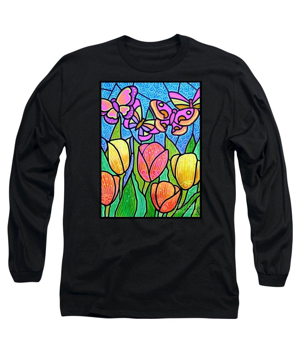 Butterflies Long Sleeve T-Shirt featuring the painting Butterflies In The Tulip Garden by Jim Harris