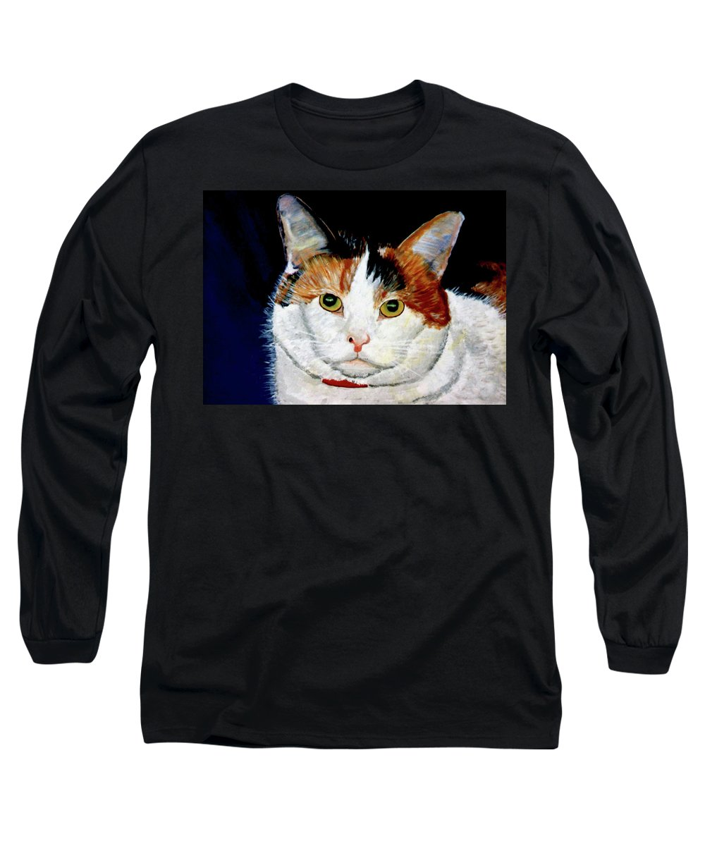 Cat Long Sleeve T-Shirt featuring the painting Buttons by Stan Hamilton
