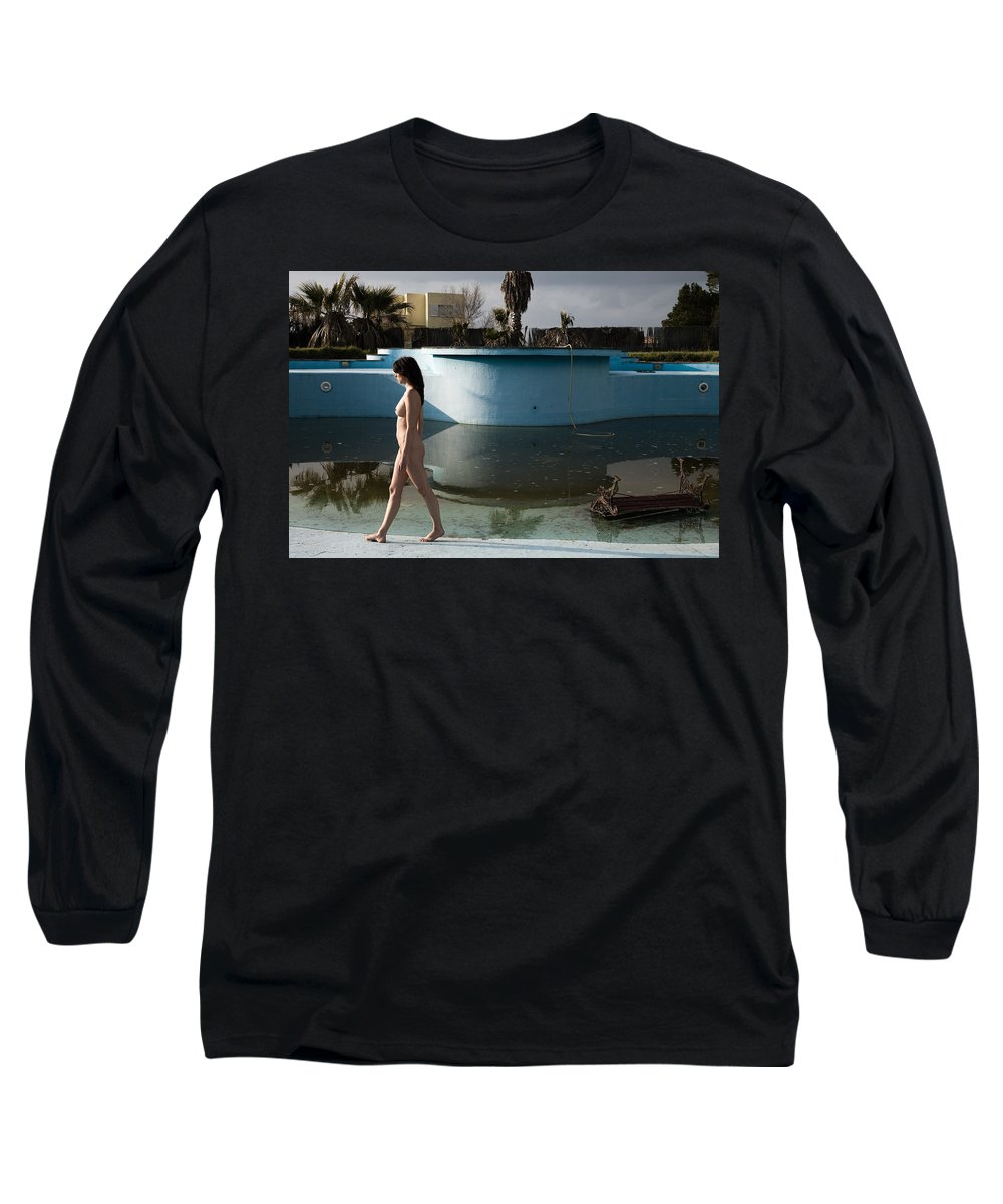 Nudes Long Sleeve T-Shirt featuring the photograph By The Old Pool by Olivier De Rycke