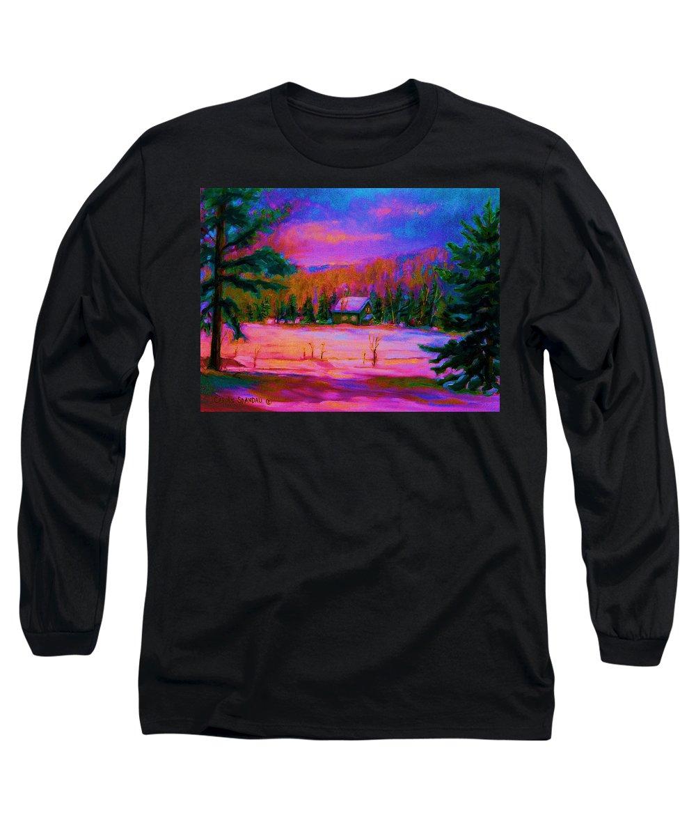 Winterscenes Long Sleeve T-Shirt featuring the painting Cabin In The Woods by Carole Spandau