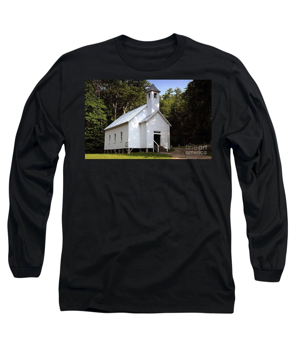 Baptist Long Sleeve T-Shirt featuring the photograph Cades Cove Baptist Church by David Lee Thompson