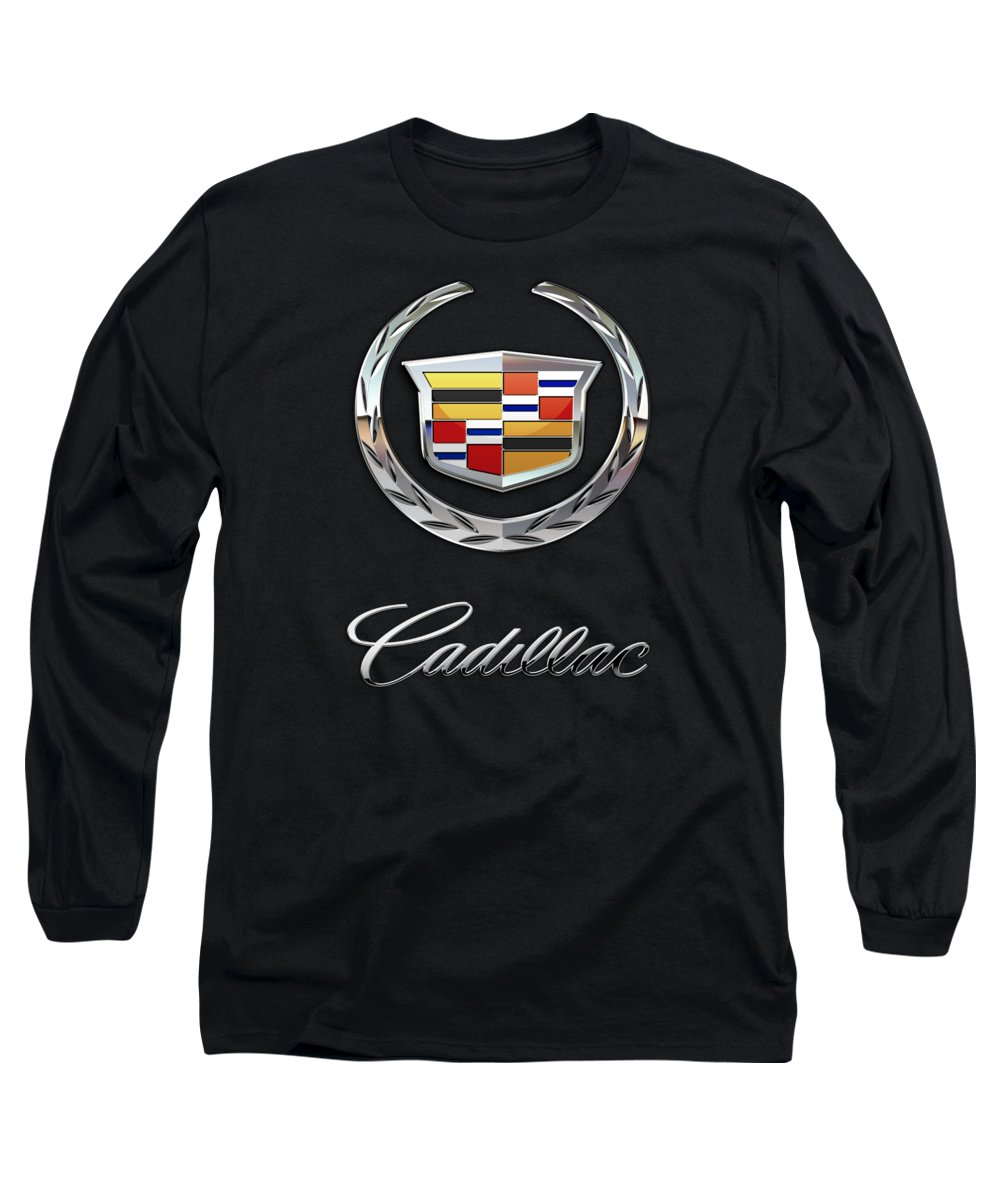 'wheels Of Fortune' By Serge Averbukh Long Sleeve T-Shirt featuring the photograph Cadillac - 3 D Badge On Black by Serge Averbukh
