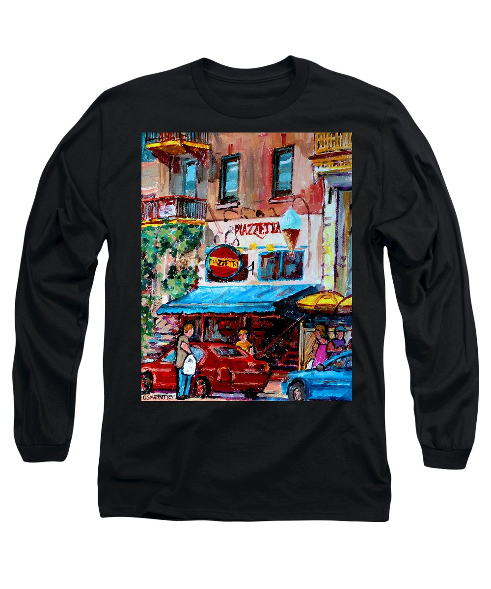 Cafes On St Denis Paris Cafes Long Sleeve T-Shirt featuring the painting Cafe Piazzetta St Denis by Carole Spandau