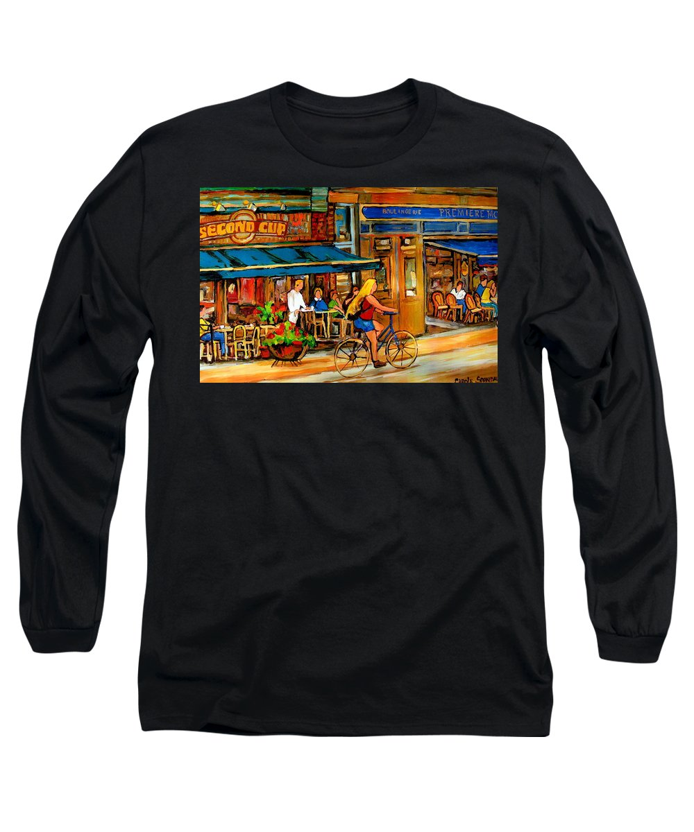 Cafes Long Sleeve T-Shirt featuring the painting Cafes With Blue Awnings by Carole Spandau
