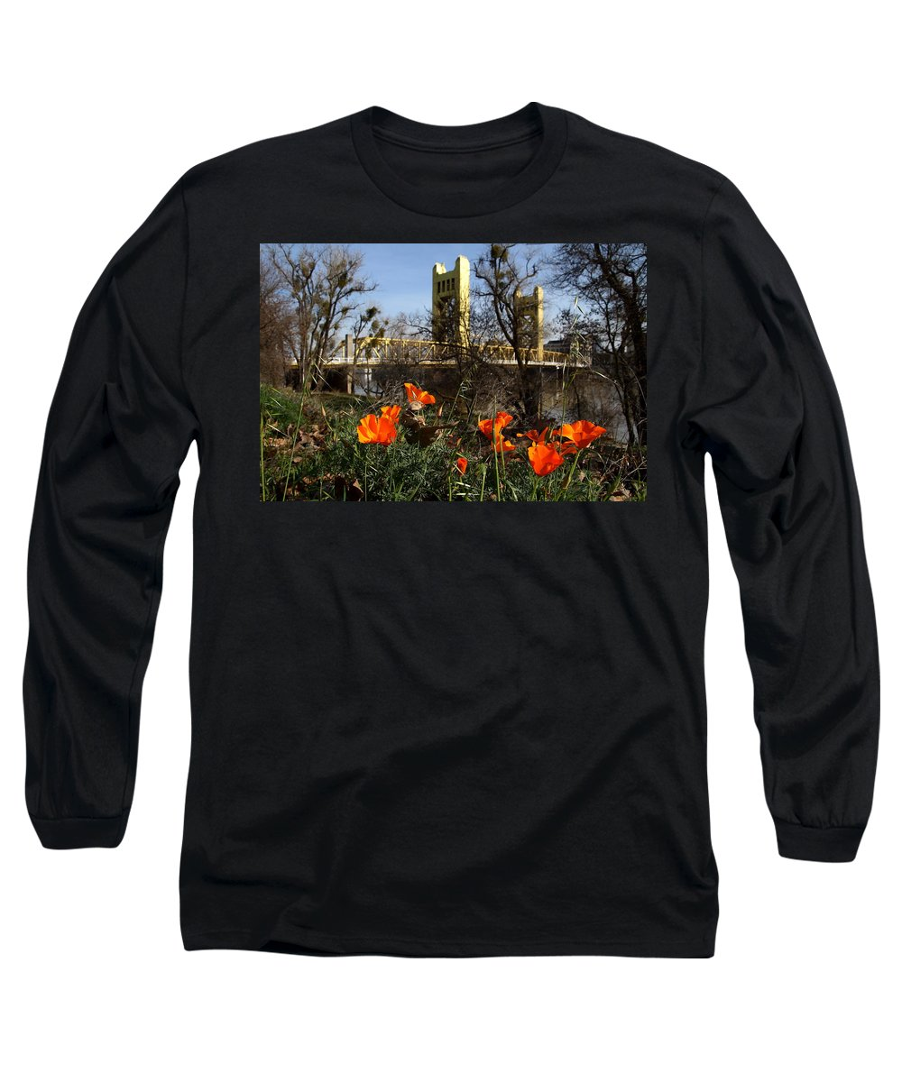 Landscape Long Sleeve T-Shirt featuring the photograph California Poppies With The Slightly Photographically Blurred Sacramento Tower Bridge In The Back by Wingsdomain Art and Photography