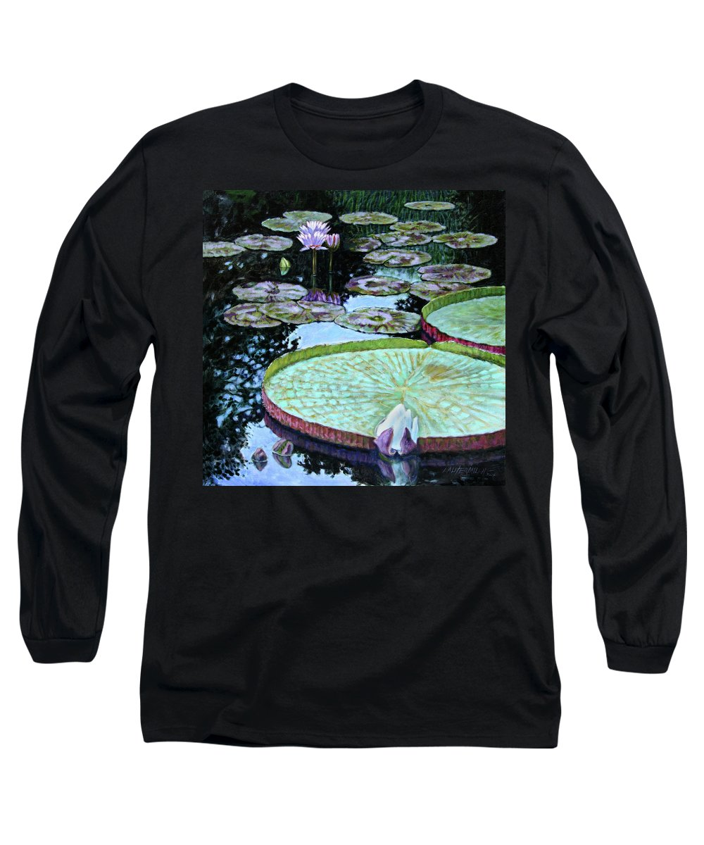 Water Lilies Long Sleeve T-Shirt featuring the painting Calm Reflections by John Lautermilch