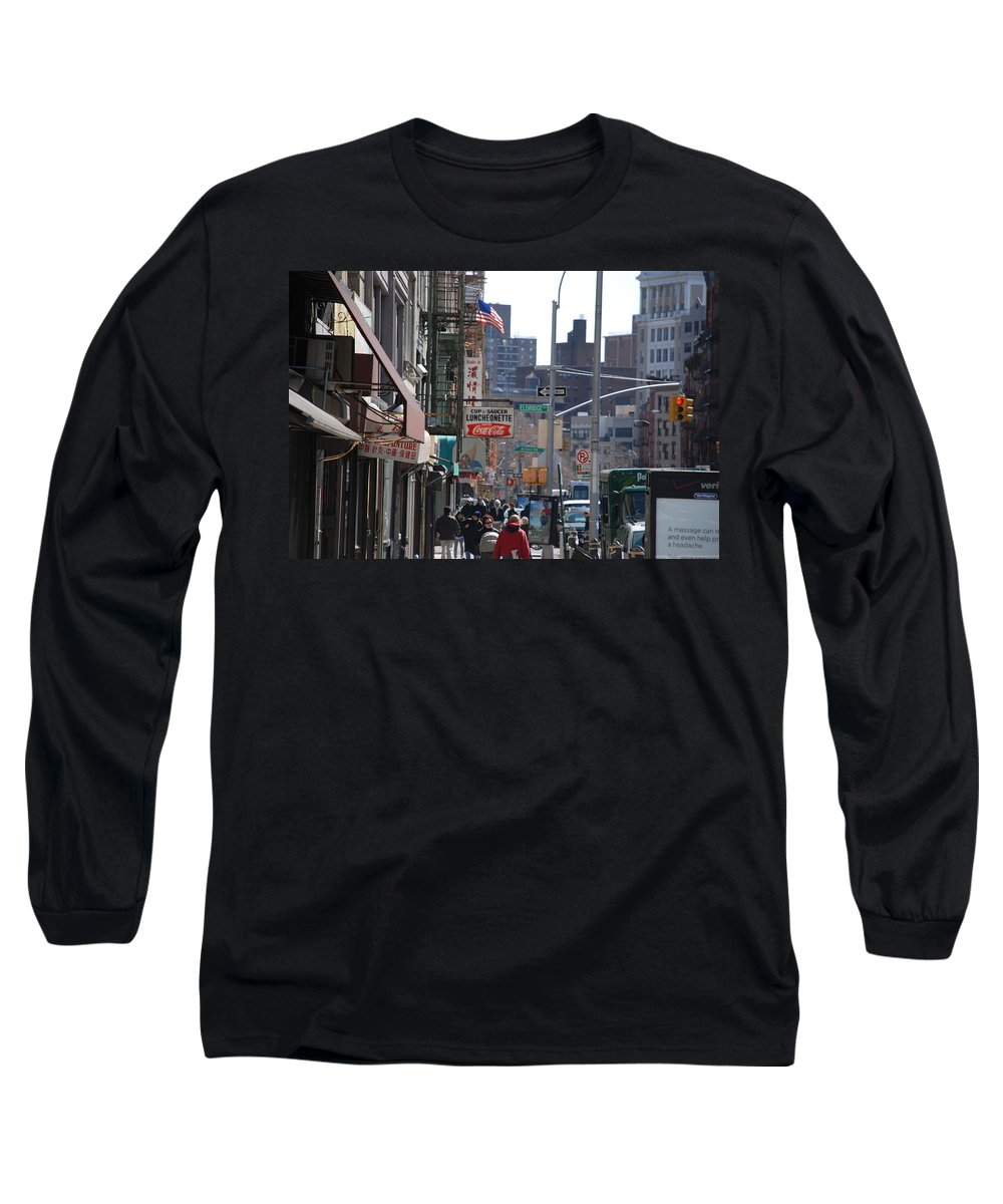 Architecture Long Sleeve T-Shirt featuring the photograph Canal And Eldridge by Rob Hans