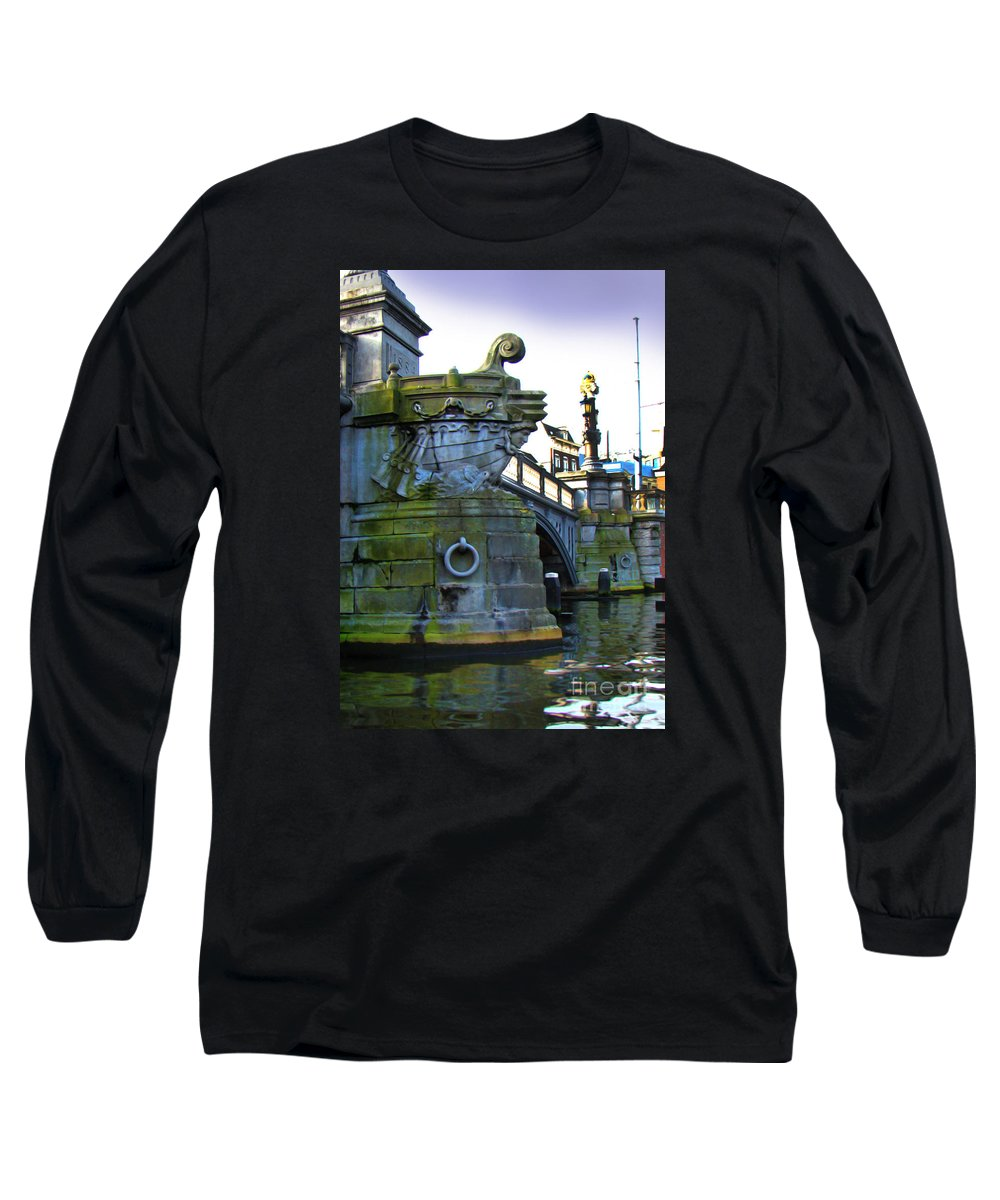 Bridge Long Sleeve T-Shirt featuring the photograph Canals Of Amsterdam Iv by Al Bourassa