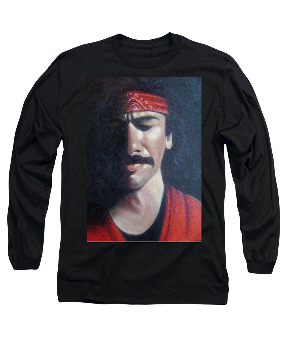 Santana Long Sleeve T-Shirt featuring the painting Carlos Santana by Toni Berry