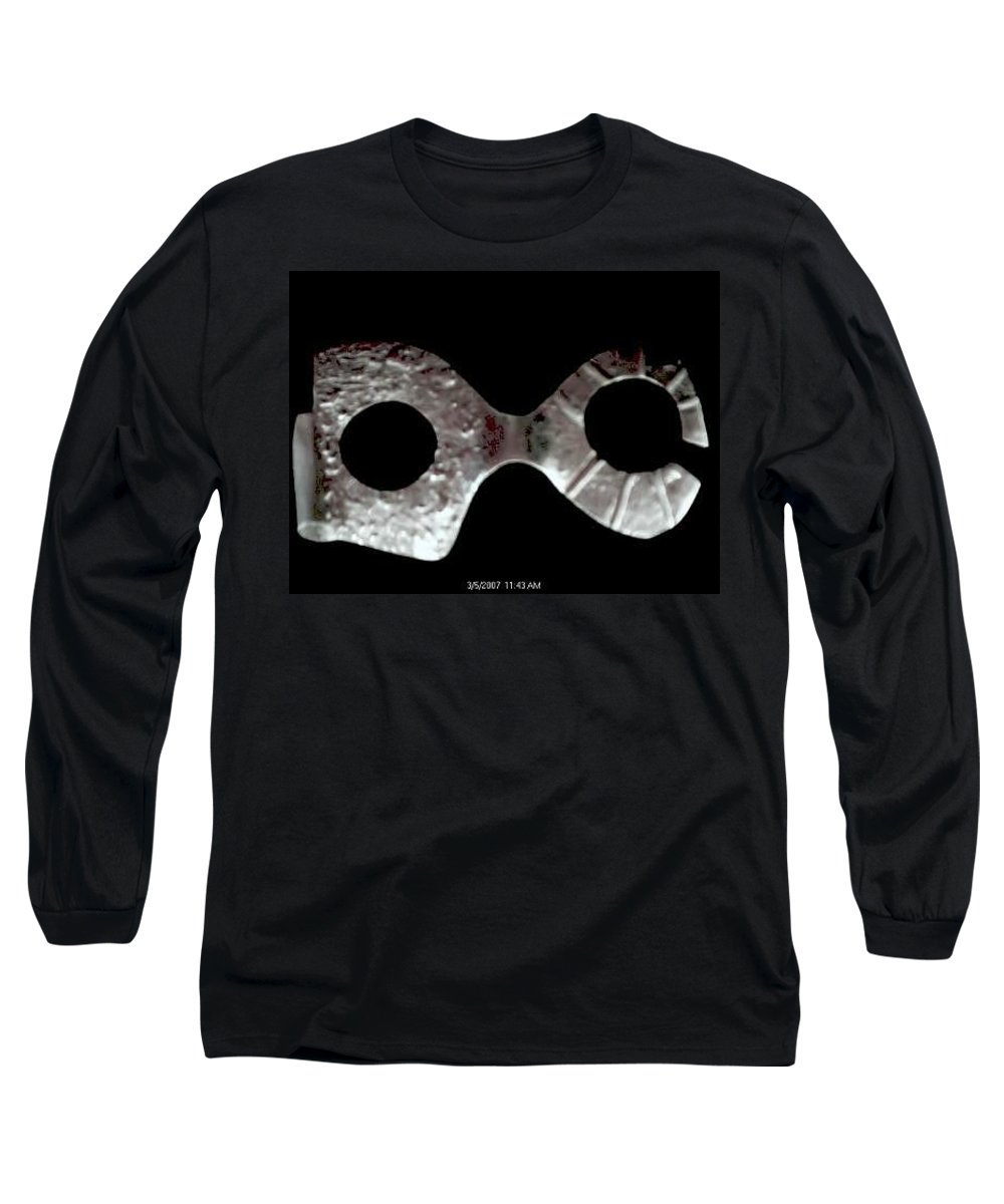 Carnival Type Face Mask For Wearing In .999 Fine Silver Long Sleeve T-Shirt featuring the photograph Carnival 002 by Robert aka Bobby Ray Howle