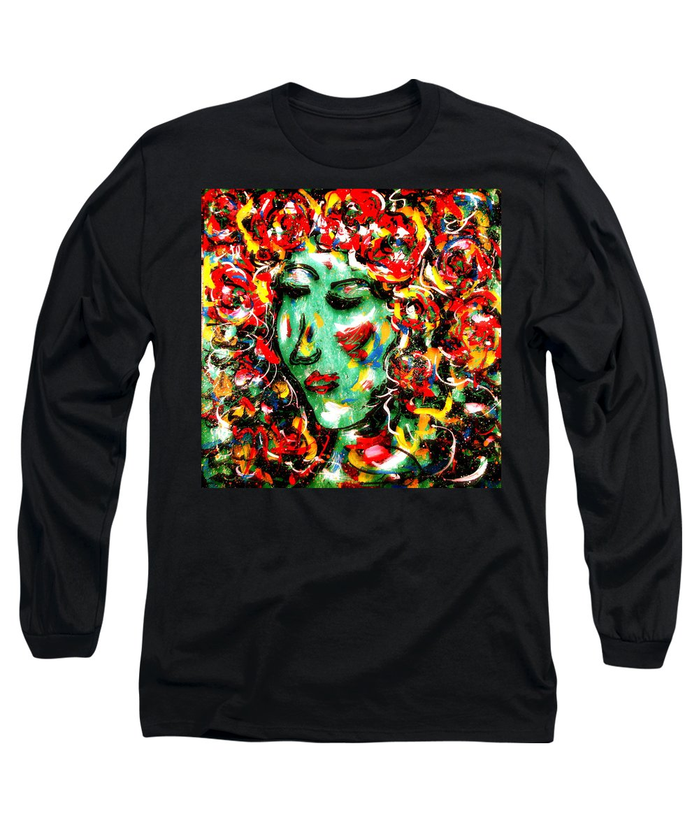 Girl Long Sleeve T-Shirt featuring the painting Carnival Girl by Natalie Holland