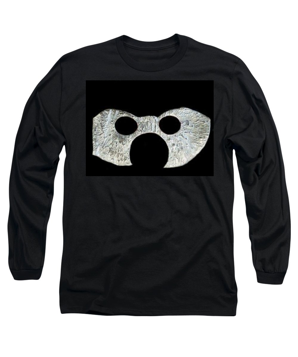 A Wearable Mardi Gras Carnival Or Costume Mask With A Leather Covered Holding Stick Long Sleeve T-Shirt featuring the photograph Carnival Series by Robert aka Bobby Ray Howle