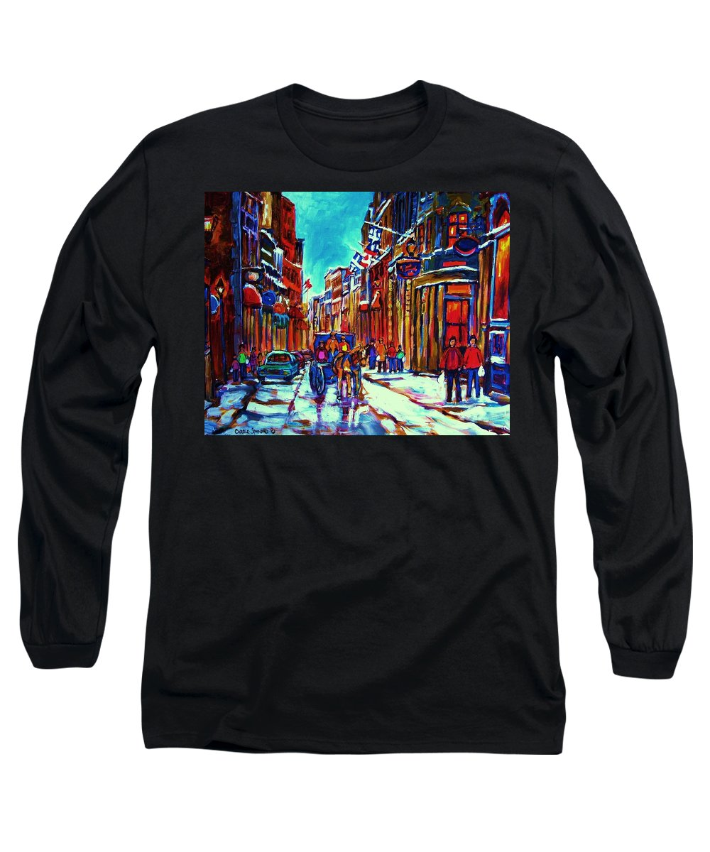 Old Montreal Long Sleeve T-Shirt featuring the painting Carriage Ride Through The Old City by Carole Spandau