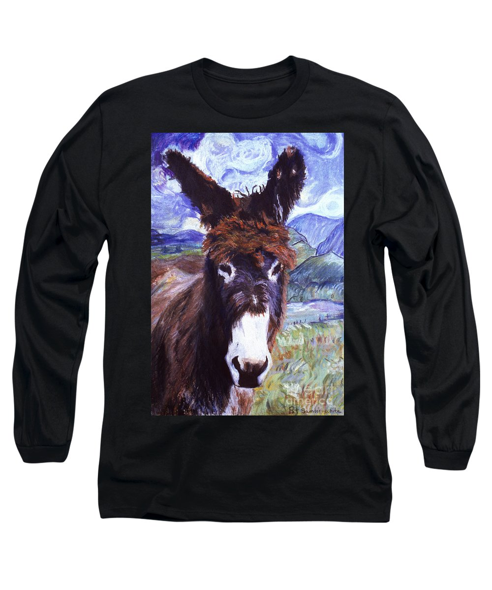 Pat Saunders-white Paintings Long Sleeve T-Shirt featuring the mixed media Carrot Top by Pat Saunders-White