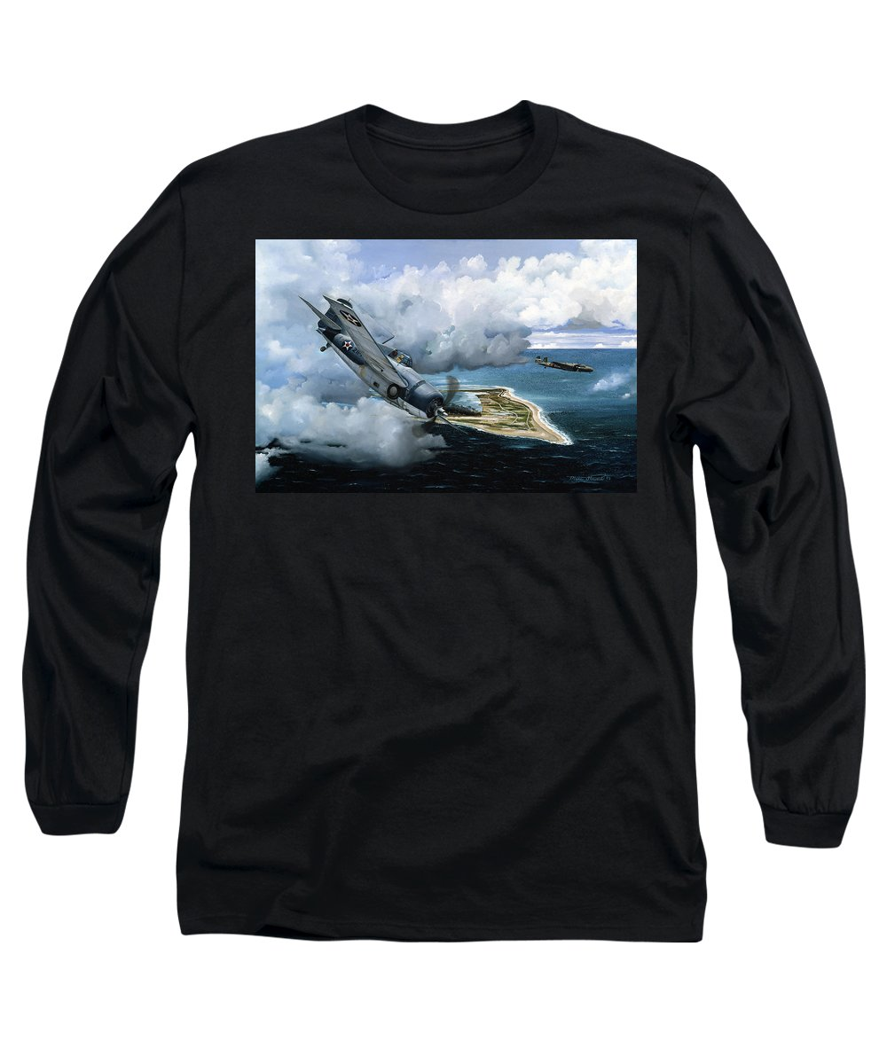Military Long Sleeve T-Shirt featuring the painting Cat And Mouse Over Wake by Marc Stewart
