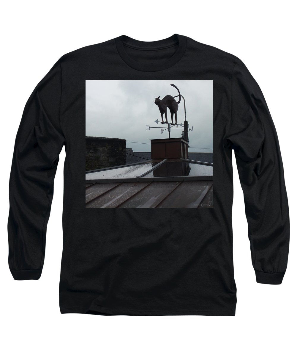 Cat Long Sleeve T-Shirt featuring the photograph Cat On A Cool Tin Roof by Tim Nyberg