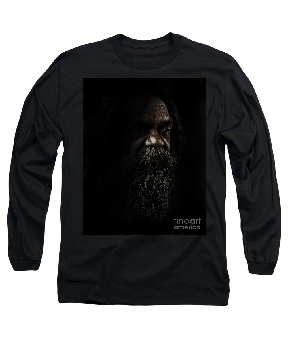 Fullblood Aborigine Long Sleeve T-Shirt featuring the photograph Cedric In Shadows by Sheila Smart Fine Art Photography