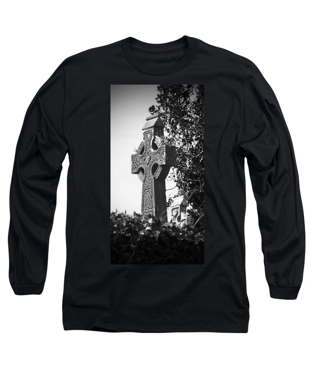 Celtic Long Sleeve T-Shirt featuring the photograph Celtic Cross At Fuerty Cemetery Roscommon Ireland by Teresa Mucha