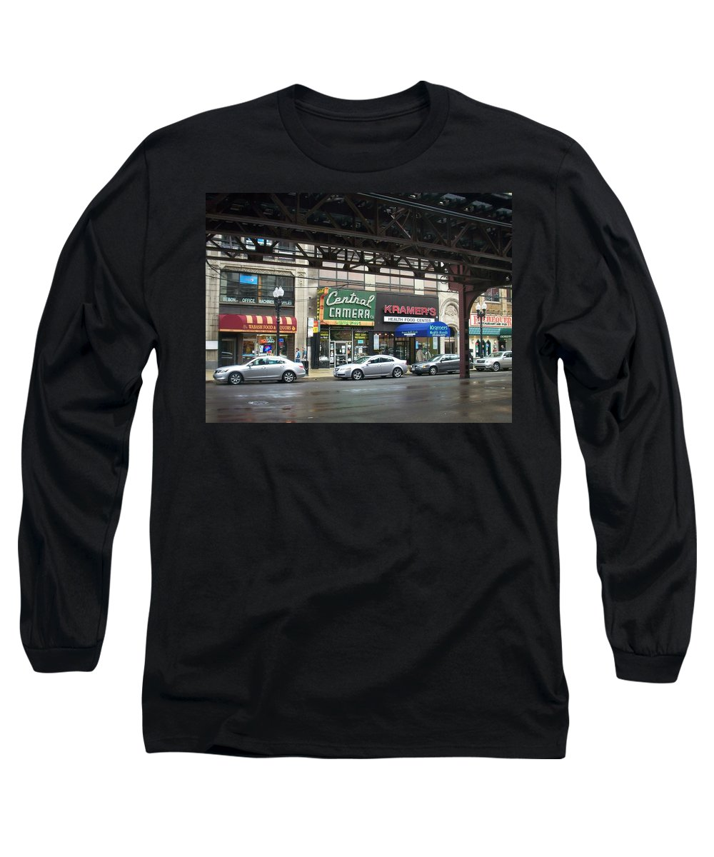 Chicago Long Sleeve T-Shirt featuring the photograph Central Camera On Wabash Ave by Anita Burgermeister