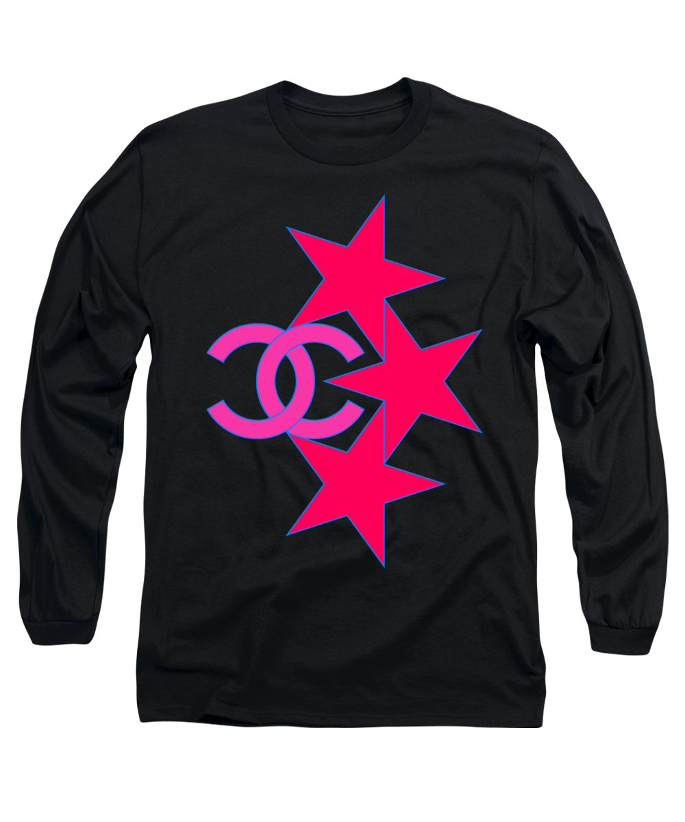 Chanel Long Sleeve T-Shirt featuring the painting Chanel Stars-9 by Nikita