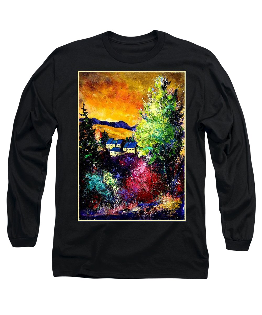 Landscape Long Sleeve T-Shirt featuring the painting Charnoy by Pol Ledent