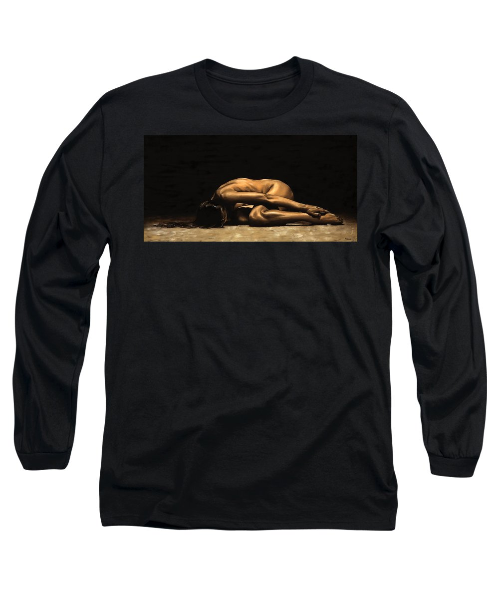 Nude Long Sleeve T-Shirt featuring the painting Chastity by Richard Young