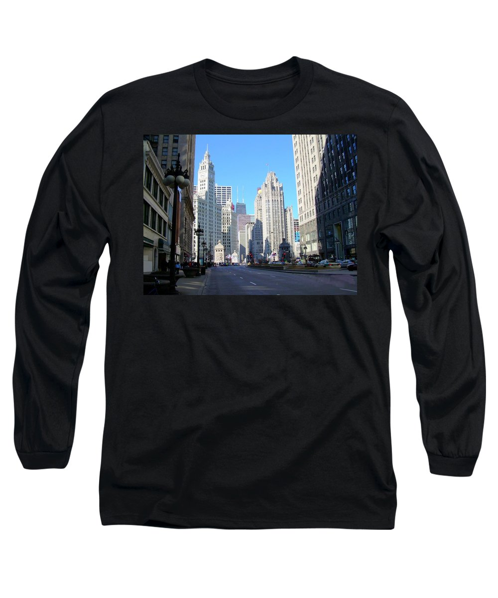 Chicago Long Sleeve T-Shirt featuring the photograph Chicago Miracle Mile by Anita Burgermeister