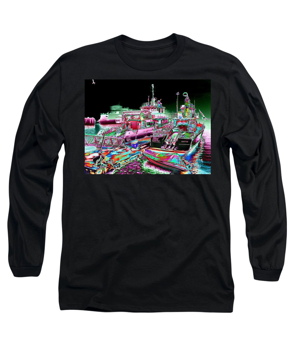 Seattle Long Sleeve T-Shirt featuring the digital art Chief Seattle In The Fog by Tim Allen