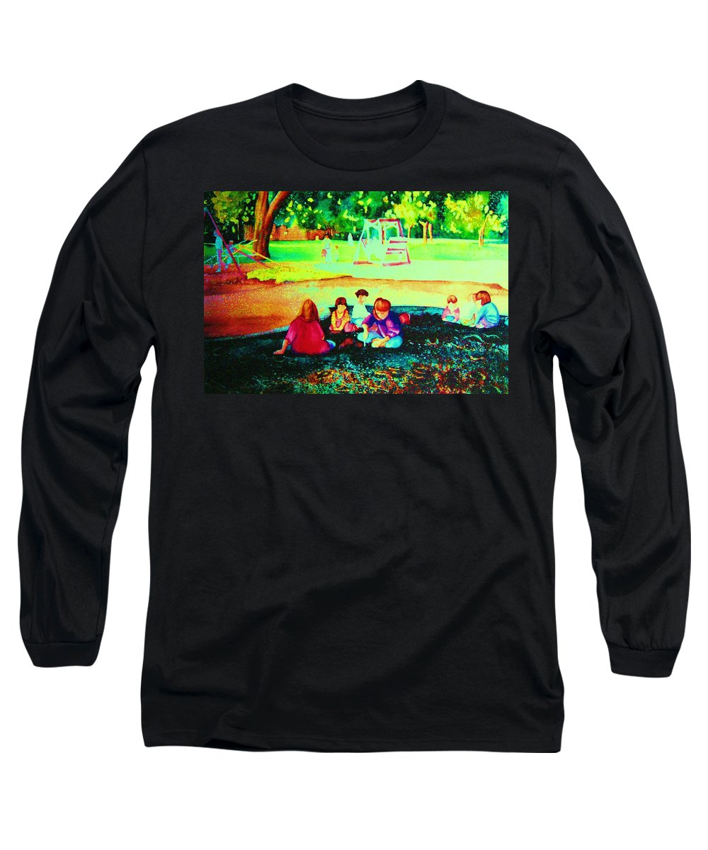 Central Park Long Sleeve T-Shirt featuring the painting Childs Play by Carole Spandau