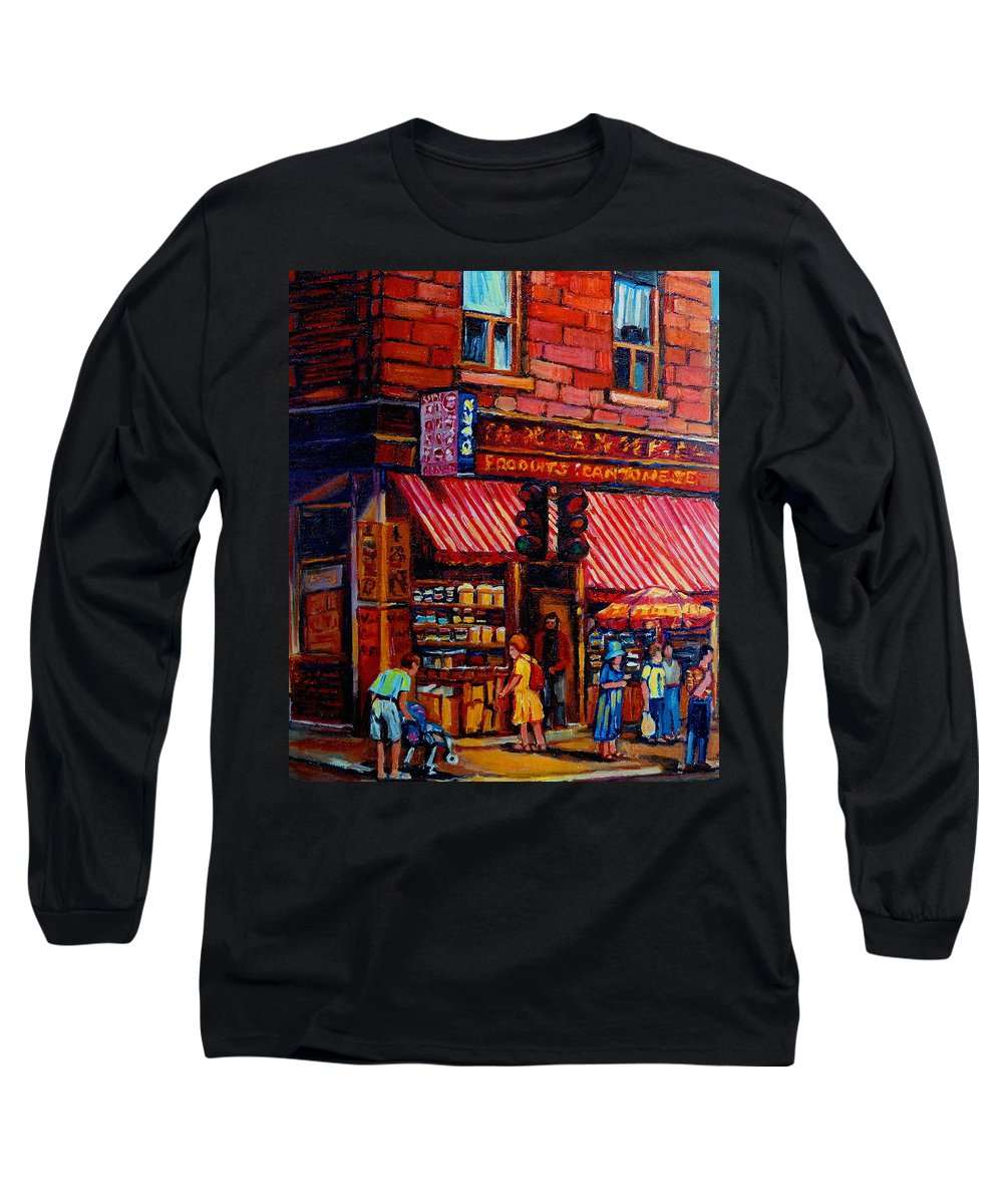 Chinatown Long Sleeve T-Shirt featuring the painting Chinatown Montreal by Carole Spandau