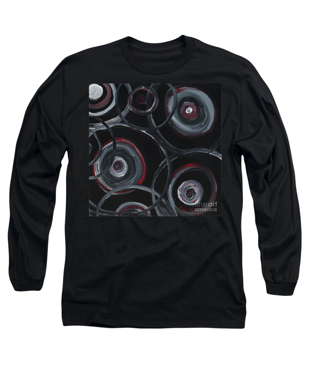 Circles Long Sleeve T-Shirt featuring the painting Choices In Black by Nadine Rippelmeyer