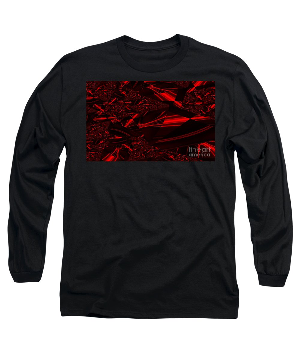 Clay Long Sleeve T-Shirt featuring the digital art Chrome In Red by Clayton Bruster