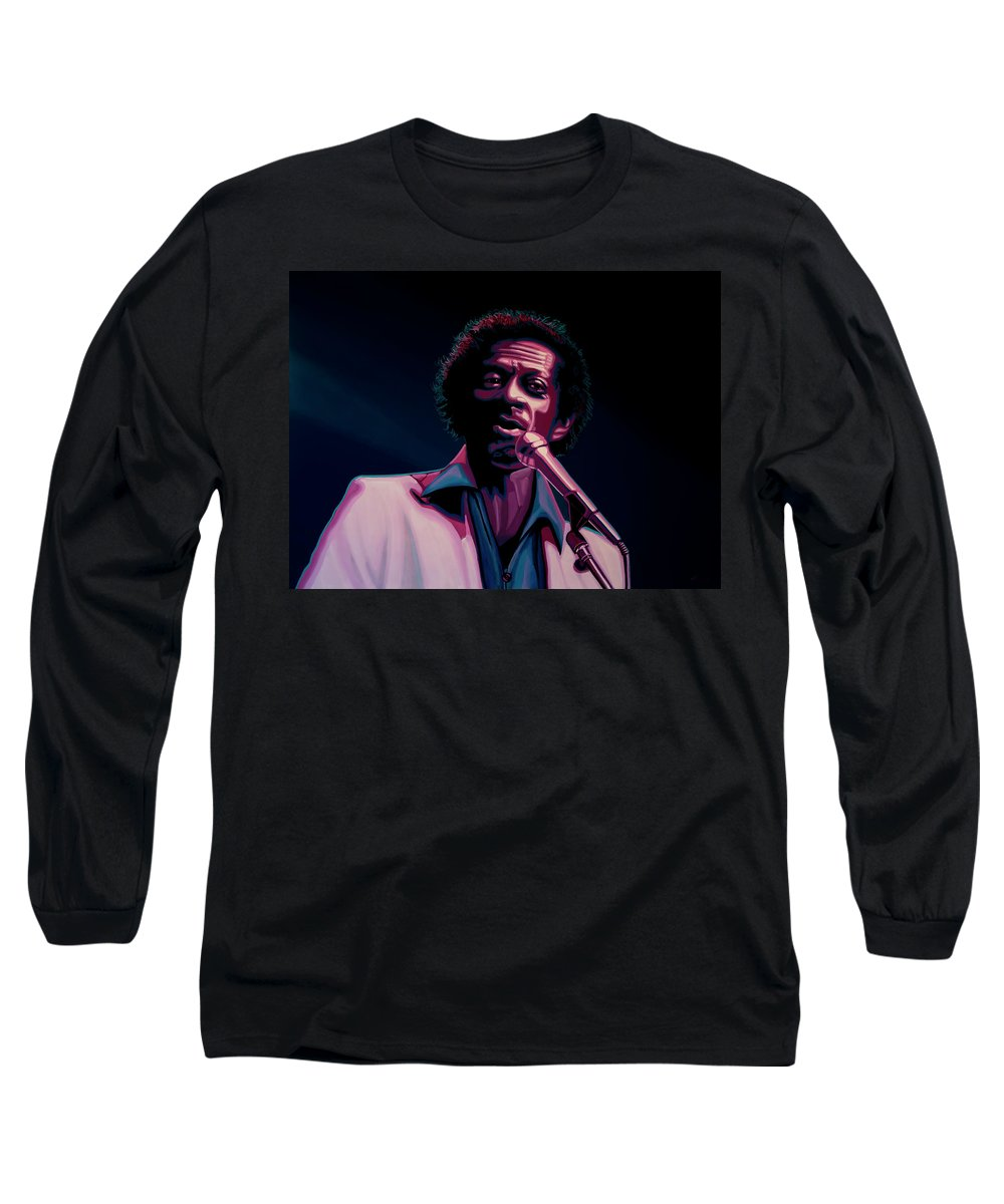 Chuck Berry Long Sleeve T-Shirt featuring the painting Chuck Berry by Paul Meijering