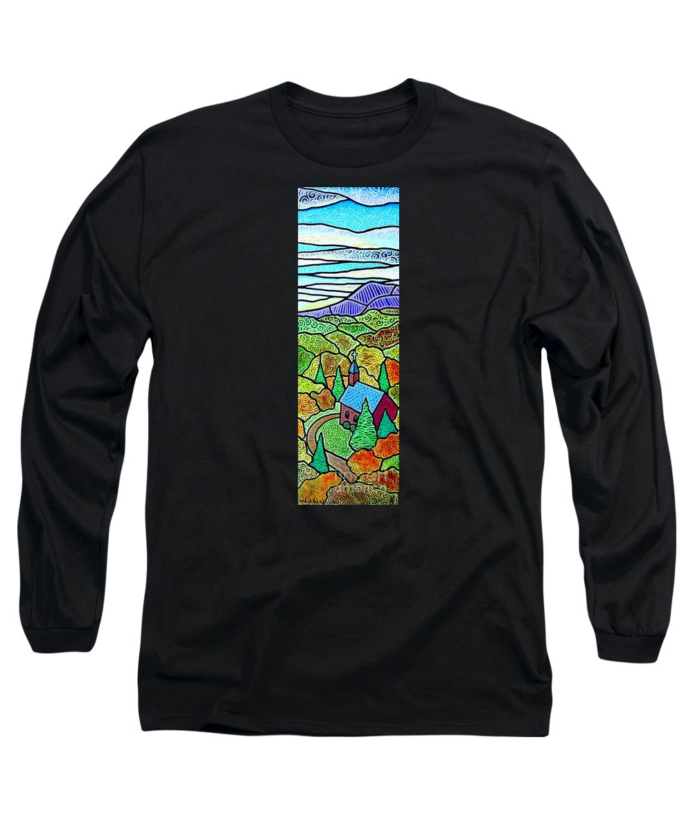 Church Long Sleeve T-Shirt featuring the painting Church In The Wildwood by Jim Harris