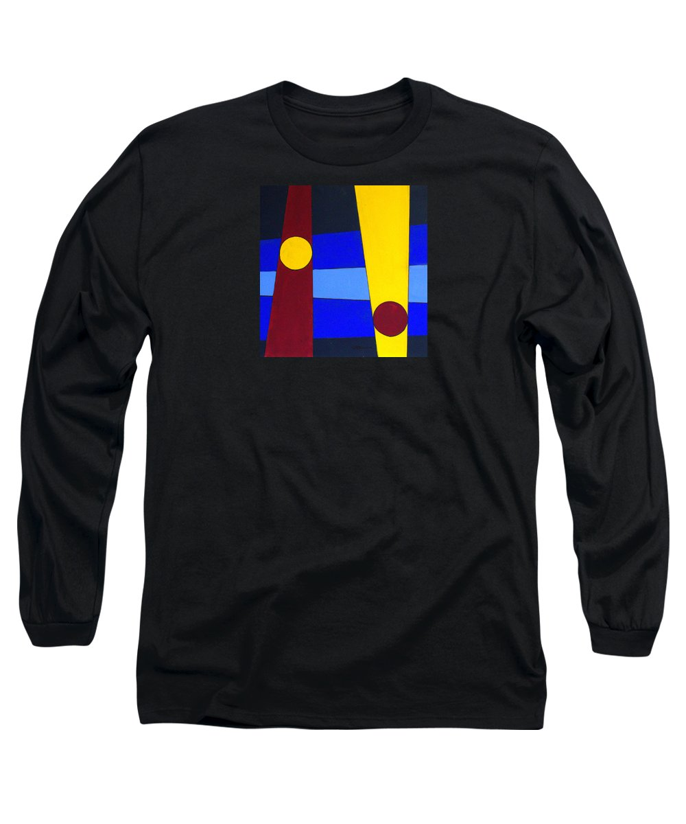 Abstract Long Sleeve T-Shirt featuring the painting Circles Lines Color by J R Seymour