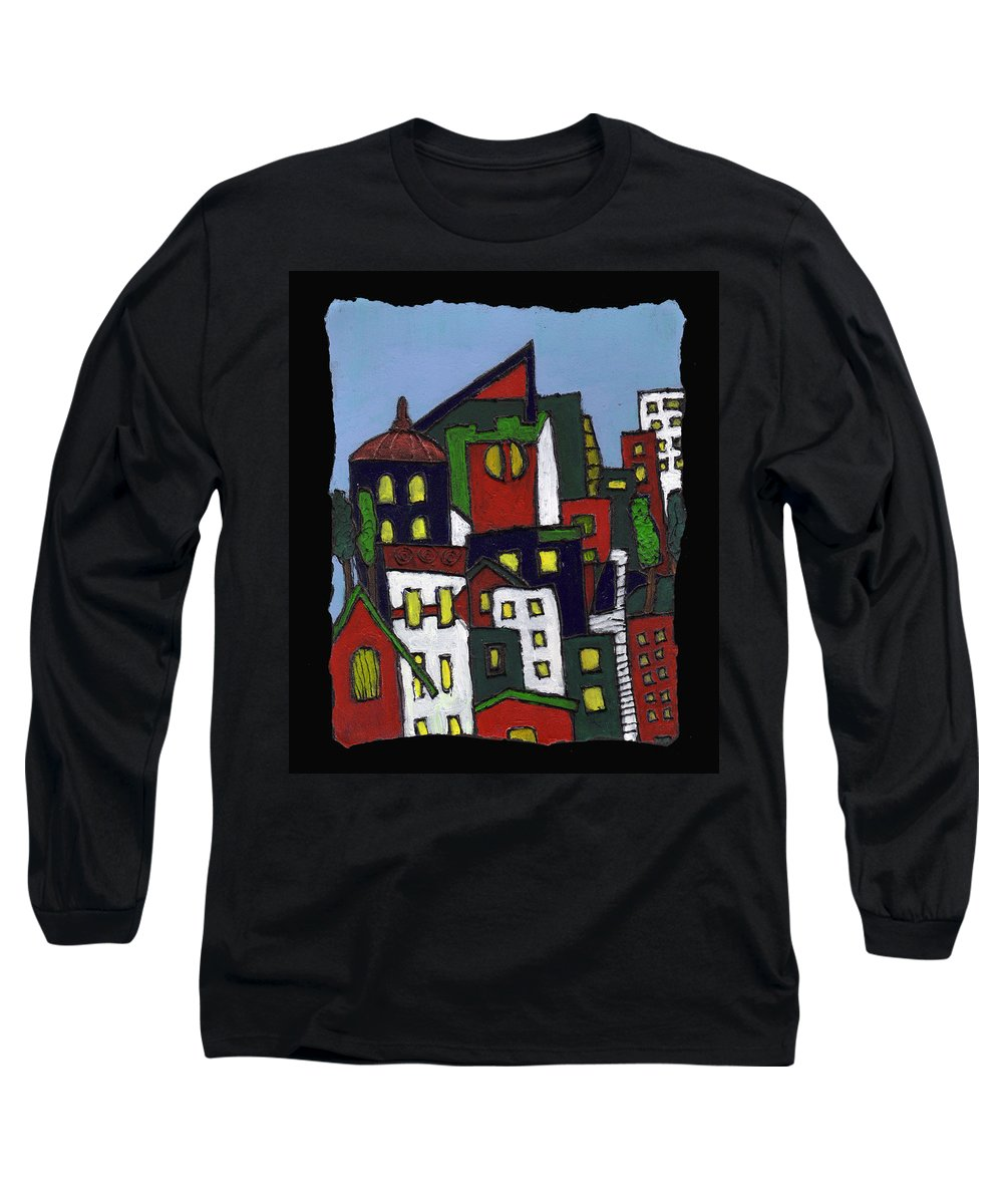 City Long Sleeve T-Shirt featuring the painting City At Christmas by Wayne Potrafka