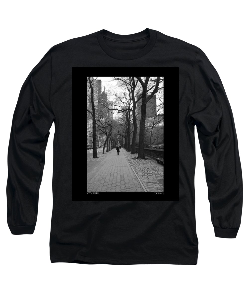 Black Long Sleeve T-Shirt featuring the photograph City Walk by J Todd
