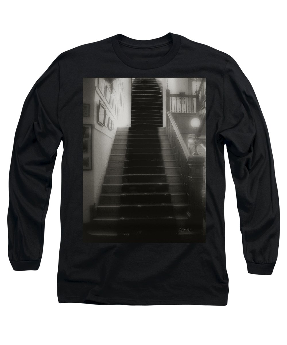 Black And White Long Sleeve T-Shirt featuring the photograph Climbing Toward The Unknown by RC DeWinter