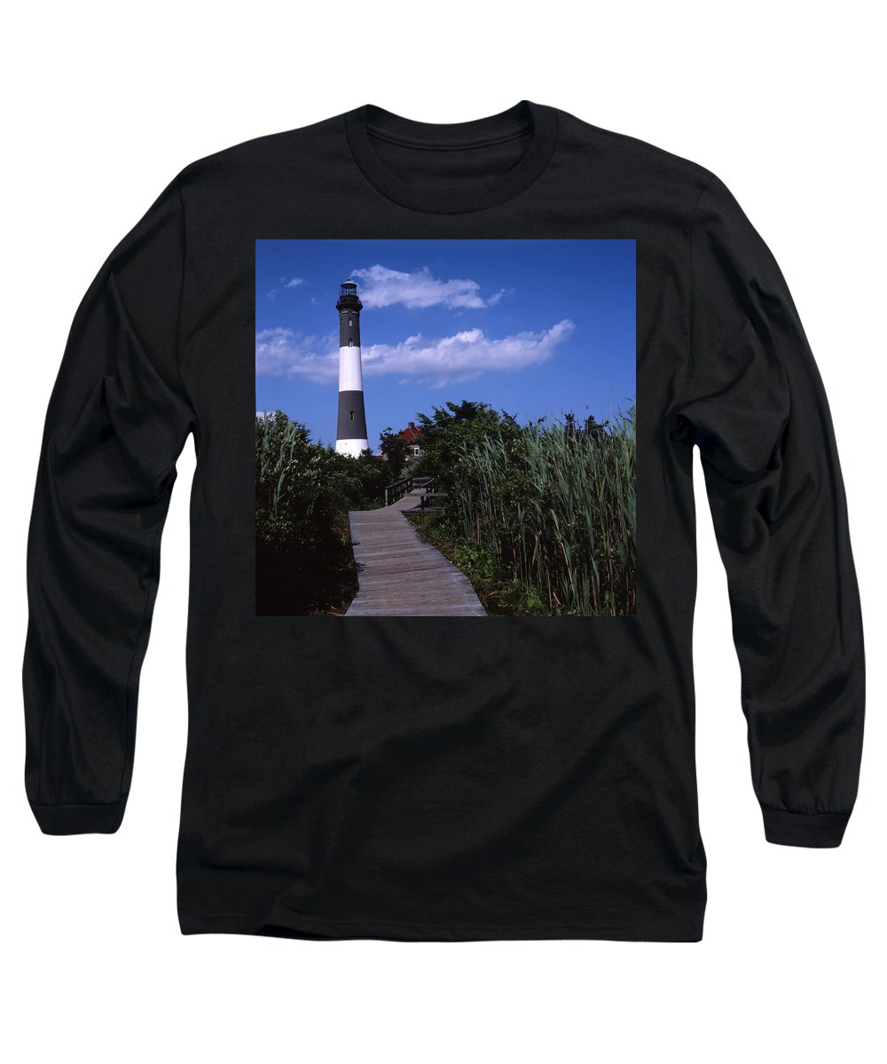 Landscape Lighthouse Fire Island Long Sleeve T-Shirt featuring the photograph Cnrf0702 by Henry Butz